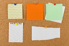 Notice board. Variety of pinned blank notes on cork notice board Royalty Free Stock Images
