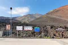 Notice boards on Mount Etna at the island Sicily, Italy Royalty Free Stock Photos