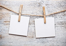 Notice card. White paper and wood clip royalty free stock photo