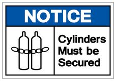 Notice Cylinders Must Be Secured Symbol Sign, Vector Illustration, Isolate On White Background Label .EPS10 stock illustration