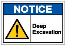 Notice Deep Excavation Symbol Sign, Vector Illustration, Isolate On White Background Label. EPS10 stock illustration