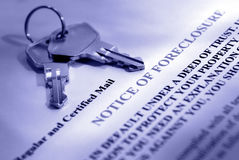 Notice of Foreclosure. House keys and foreclosure notice Royalty Free Stock Images