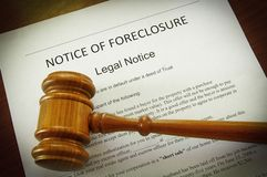 Notice of Foreclosure. Home Foreclosure document and legal gavel Royalty Free Stock Photo