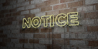NOTICE - Glowing Neon Sign on stonework wall - 3D rendered royalty free stock illustration. Can be used for online banner ads and direct mailers Stock Image