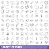 100 notice icons set, outline style. 100 notice icons set in outline style for any design vector illustration Vector Illustration