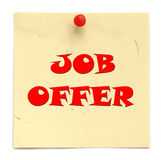 Notice inscribed JOB OFFER Royalty Free Stock Photo
