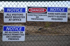 Notice! Job site safety Royalty Free Stock Photography