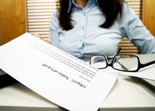The notice of layoff Stock Photography