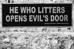 Notice in Mahabalipuram. Unique anti-littering sign in Mahabalipuram, India Stock Image