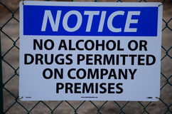 Notice! No Alcohol or Drugs Stock Photo