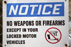 Notice - no weapons allowed sign Stock Photo
