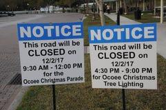 NOTICE OCOEE CHRISTMAS PARADE. OCOEE/ORLANDO / FLORIDA / USA  - 01 December 2017. _Ocoee christmas parade Notice for public .        Photo.Francis Dean/Dean Royalty Free Stock Photography