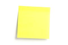 Notice paper. Yellow notice paper with shadow isolated on white stock photo