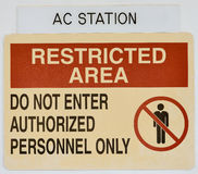 Notice restricted area Royalty Free Stock Photos