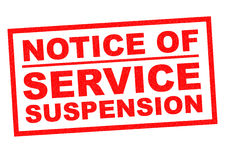 NOTICE OF SERVICE SUSPENSION Royalty Free Stock Images