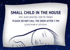 Notice that sleeps small child. Outside notice that sleeps small child and it is not necessary to call on the door Royalty Free Stock Image