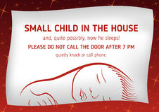 Notice that sleeps small child. Outside notice that sleeps small child and it is not necessary to call on the door Stock Image