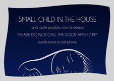 Notice that sleeps small child. Outside notice that sleeps small child and it is not necessary to call on the door Stock Photography