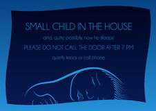 Notice that sleeps small child. Outside notice that sleeps small child and it is not necessary to call on the door Stock Photos