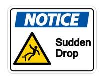 Notice Sudden Drop Symbol Sign On White Background,Vector Illustration stock illustration