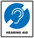 Notice symbol, hearing aid banner. Hearing support icon isolated on white background. Royalty Free Stock Photo