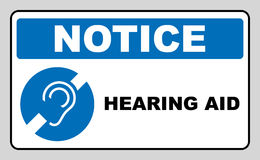 Notice symbol, hearing aid banner. Hearing support icon isolated on white background. Royalty Free Stock Photos