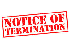 NOTICE OF TERMINATION. Red Rubber Stamp over a white background Royalty Free Stock Photos