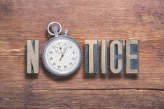 Notice watch wooden Royalty Free Stock Image
