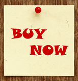 Notice written BUY NOW. In a notice board Royalty Free Stock Images