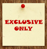 Notice written EXCLUSIVE ONLY Royalty Free Stock Images
