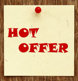 Notice written HOT OFFER. In a notice board Royalty Free Stock Photography