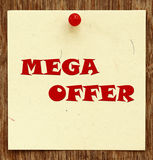 Notice written MEGA OFFER. In a notice board Royalty Free Stock Images