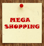 Notice written MEGA SHOPPING Royalty Free Stock Image