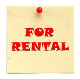 Notice written FOR RENTAL Royalty Free Stock Photography