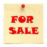 Notice written FOR SALE Royalty Free Stock Photos