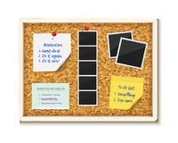 Noticeboard cork board with paper notes, to do stickers and photos vector illustration