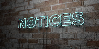 NOTICES - Glowing Neon Sign on stonework wall - 3D rendered royalty free stock illustration Stock Photo