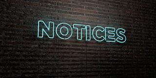 NOTICES -Realistic Neon Sign on Brick Wall background - 3D rendered royalty free stock image Royalty Free Stock Photos
