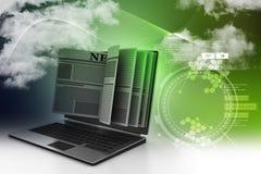 Noticias con un concepto de la pantalla del ordenador portátil para las noticias en línea Fotos de archivo