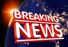 noticias de última hora del ejemplo 3D vivas en las noticias de última hora del ejemplo de las noticias background3D de la tecnol stock de ilustración