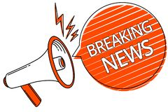 Noticias de última hora del texto de la escritura Concepto que significa el loudspeake de suceso del megáfono de Flashnews del pr libre illustration