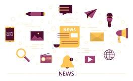 Noticias de última hora de la lectura en la página web ilustración del vector