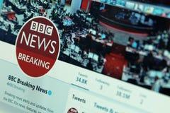 Noticias de la BBC en gorjeo foto de archivo libre de regalías