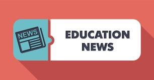Noticias de la educación en escarlata en diseño plano Fotos de archivo libres de regalías