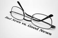 Noticias de las malas noticias vs.good Fotografía de archivo libre de regalías