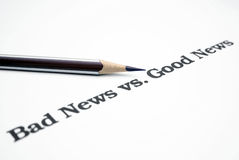 Noticias de las malas noticias vs.good Fotografía de archivo