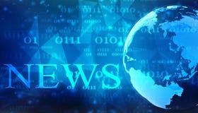 Noticias de las palabras en fondo digital ilustración del vector