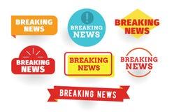 Noticias de última hora Conjunto de escrituras de la etiqueta Imagen de archivo libre de regalías