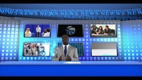 Noticias de negocio de la información del hombre almacen de metraje de vídeo