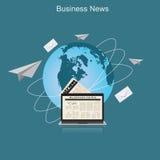 Noticias de negocio, globo, ejemplo plano del vector, apps, bandera Fotografía de archivo